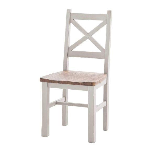 Stuhl Byron Weiß Braun Massiv 2er Set – Bild 1