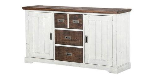 Sideboard Dover Weiß Braun Massivholz 160 cm Breit – Bild 2