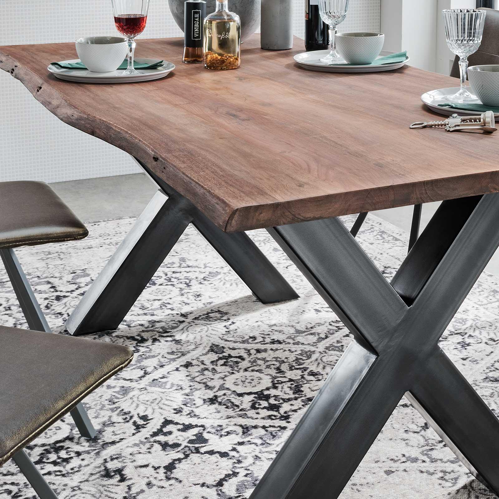 Details zu Baumkantentisch Esstisch Baumkante Massiv Dunkelbraun geölt X  Gestell Antik Grau