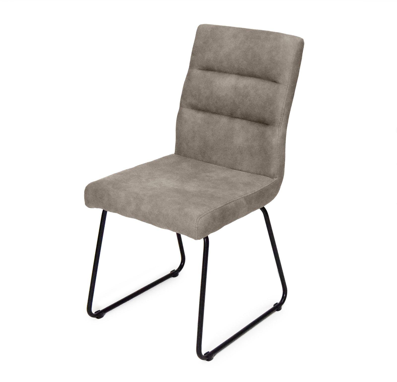 Stuhl Luni in Grau - Beige mit Kufengestell 2er Set