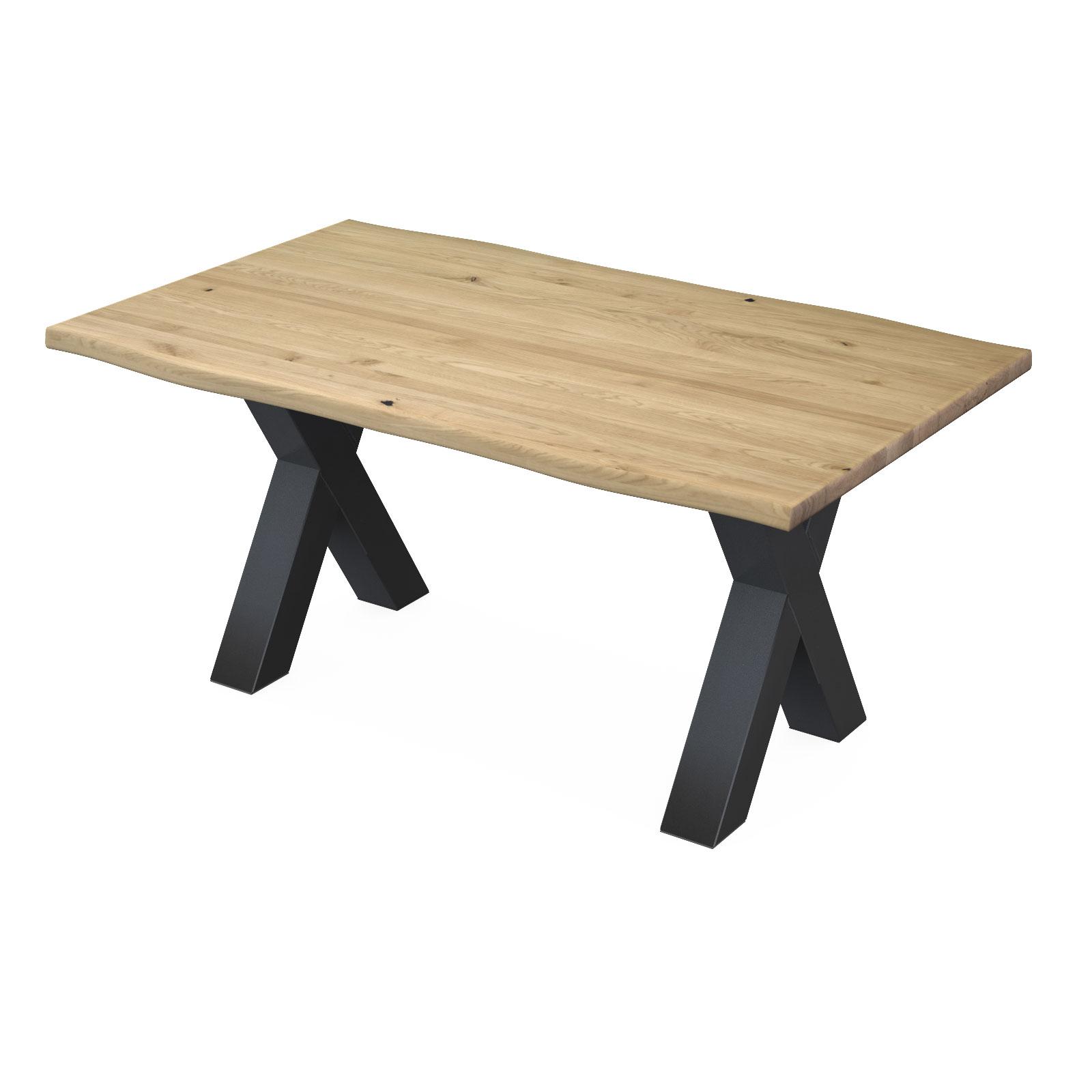 Esstisch York aus Eiche Massivholz + Baumkante, X - Gestell Schwarz