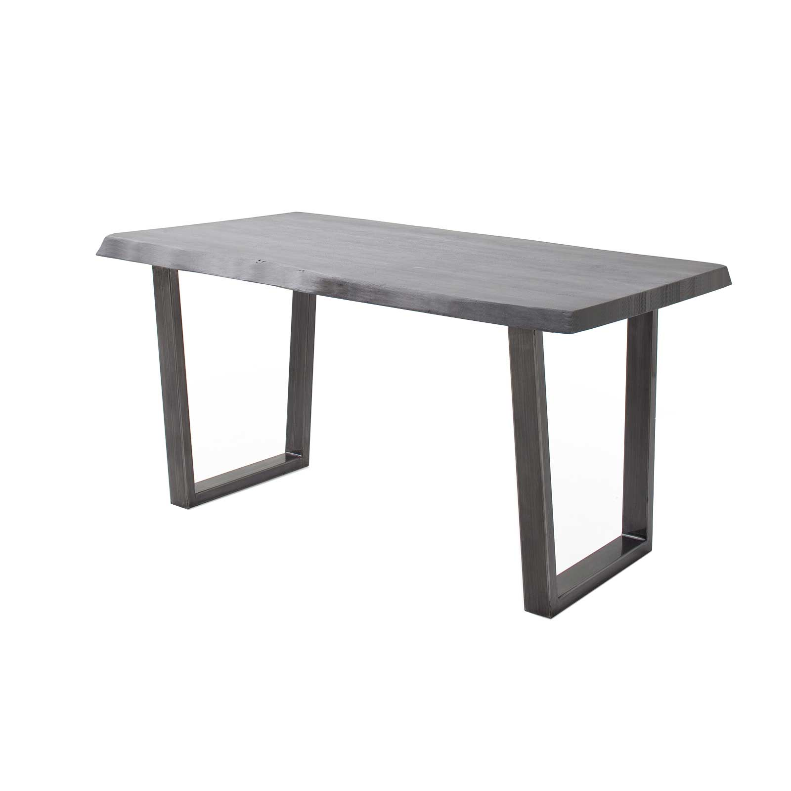 Baumtisch Oka Akazie Grau lackiert 55 mm + T Gestell Antik gewischt