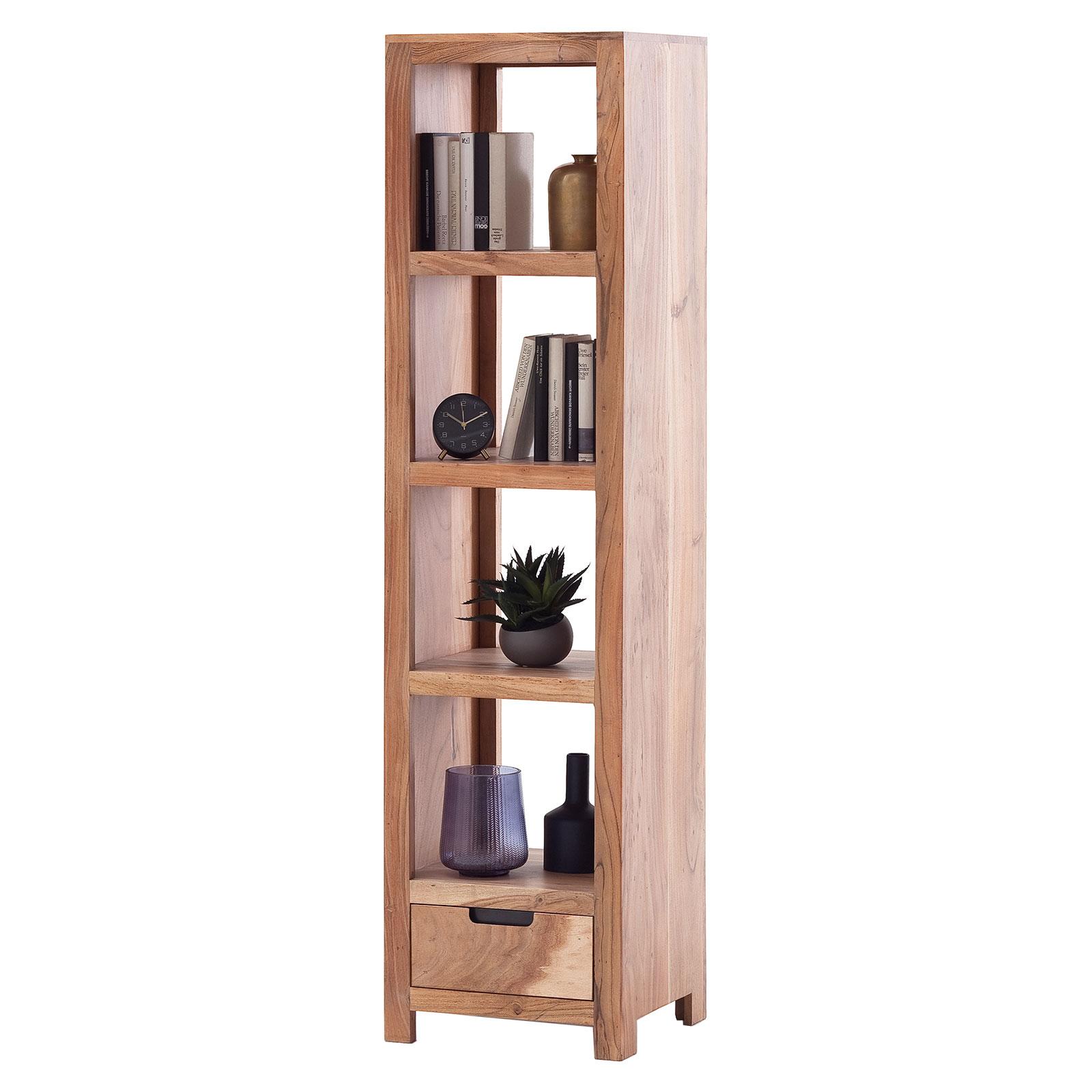 Bücherregal Ilow aus Akazie Massivholz in Natur lackiert - 45 x 178 cm