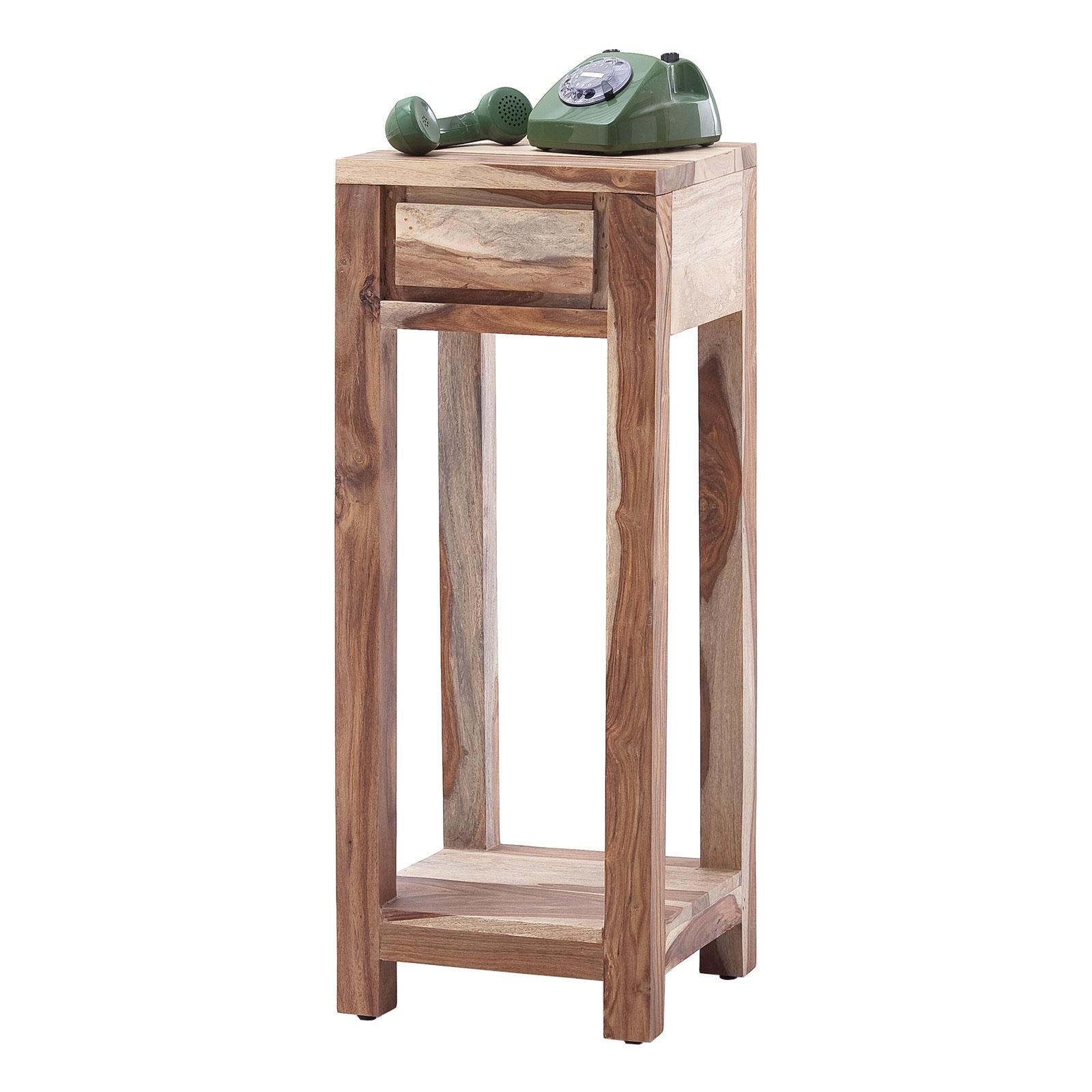 Telefontisch Ilow aus Akazie Massivholz in Natur lackiert - 30 x 60 cm
