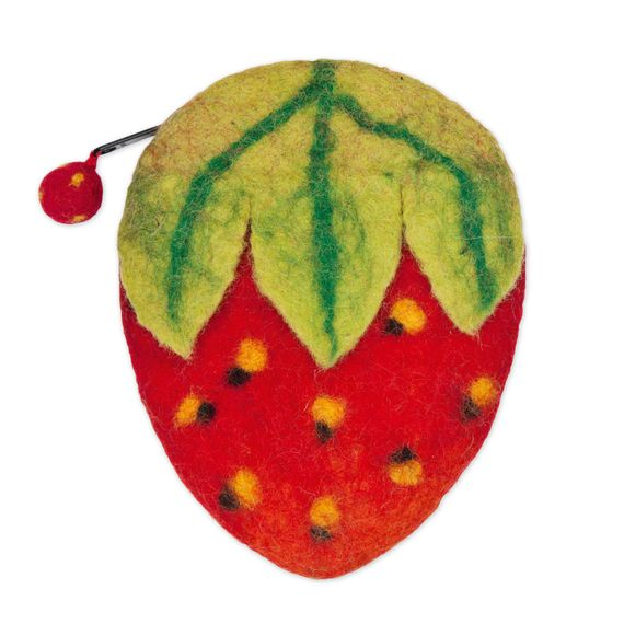 Strawberry felt pouch