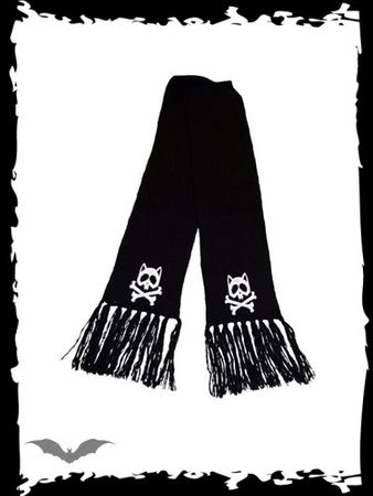 schwarzer Schal mit Kitty & Bones