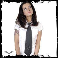 schwarze Krawatte mit grauen Nadelstreifen – Bild 3