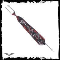 schwarze Krawatte mit rotem Spinnennetz – Bild 1
