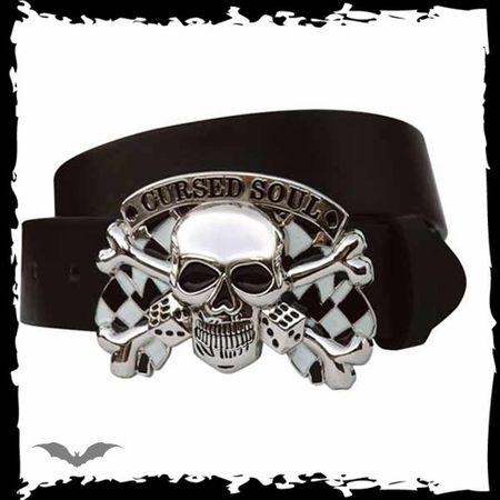 Cursed Soul - schwarzer Kunstledergürtel mit Skull Schnalle