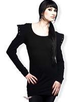 kurzes schwarzes Kleid mit großen Schultern