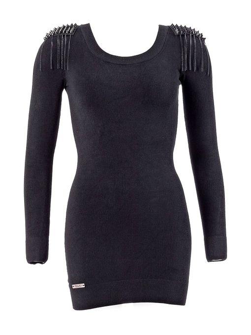 schwarzes Minikleid mit Schulterpostern