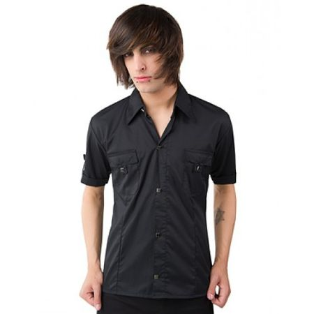Cuff Shirt Fine Denim, black