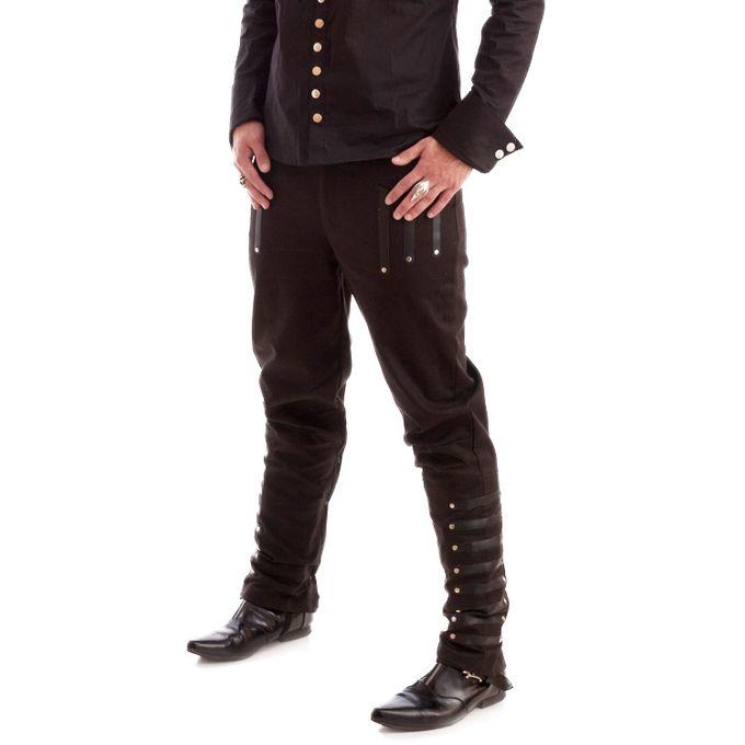Mephisto: schwarze Hose mit Kunstleder Applikationen