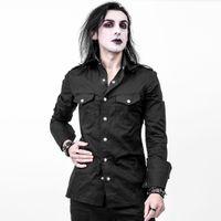 Slaine Necessary Evil Mens Shirt: schwarzes Herrenhemd im Military Style mit großen Manschetten