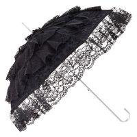 schwarzer Regenschirm mit Spitze überzogen
