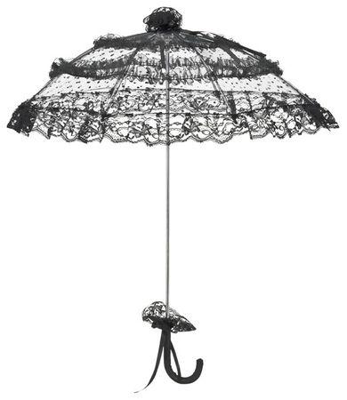 schwarzer Mini-Schirm mit gepunktetem Tüll