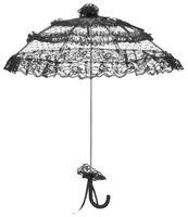 Salomea - schwarzer Mini-Schirm mit gepunktetem Tüll