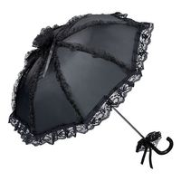 kleiner Gothic Schirm mit schwarzem Satin