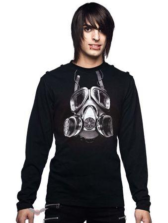 schwarzes Langarmshirt mit Gasmasken Print