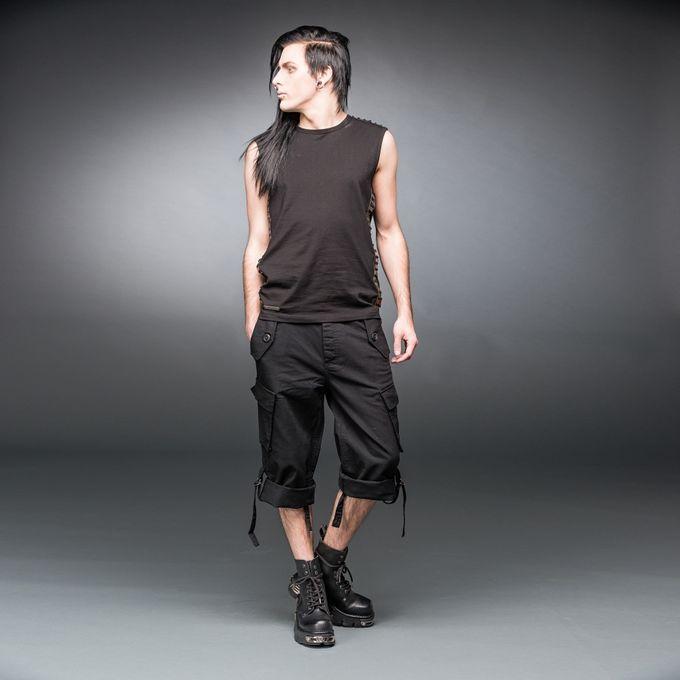 kurze schwarze Gothic Herrenhose mit Seitentaschen