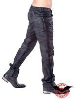 schwarze Hose in Lederoptik mit Used-Look – Bild 2