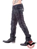 schwarze Hose in Lederoptik mit Used-Look