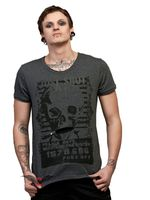 "Graues Shirt mit ""Polizeifoto"" - Print"