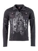 Gothic Langarmshirt mit grauem Totenkopfaufdruck