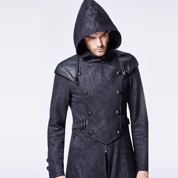 schwarzer Assassinen Mantel mit Kapuze