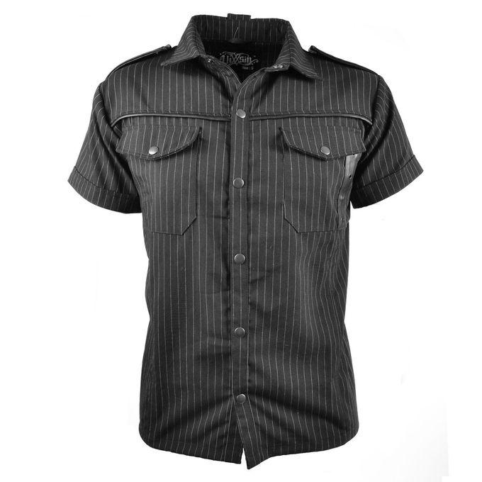 POISON SHIRT: Nadelstreifen Kurzarm Gothic Shirt