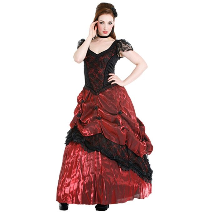 rotes Black Rose Dress, Gothic Ballkleid