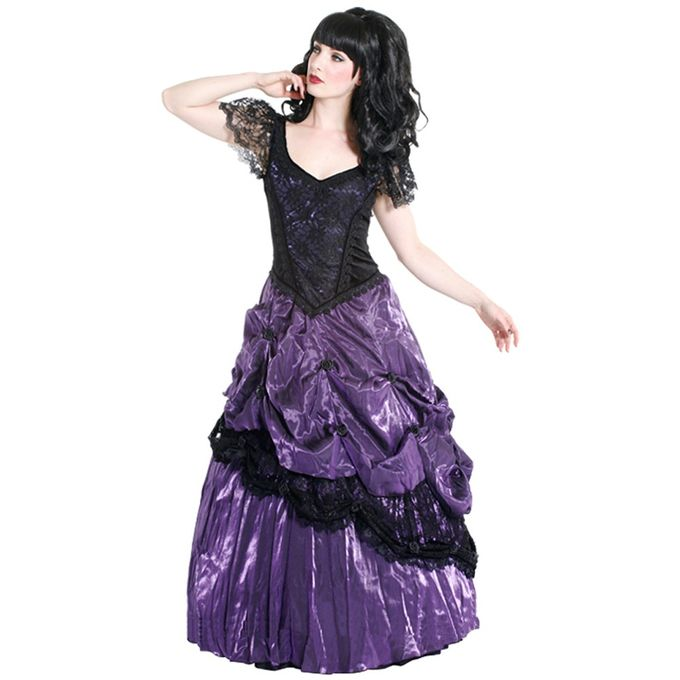 lila Black Rose Dress, Gothic Ballkleid 001
