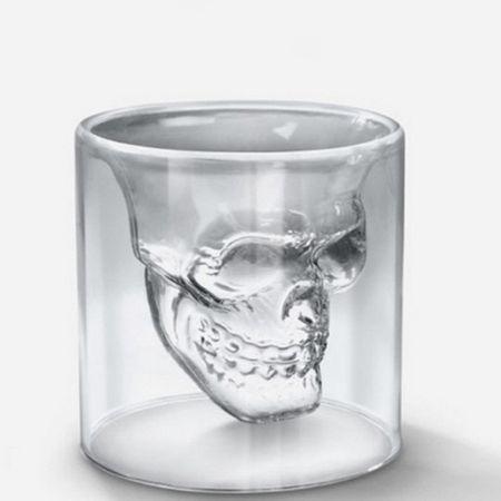 Skull Whisky Shot Glas, transparent, 75ml