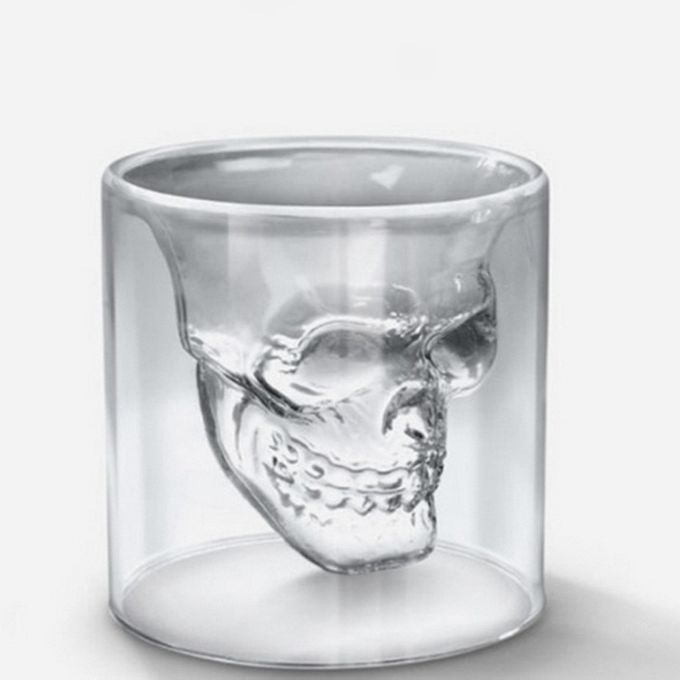 Skull Whisky Shot Glas, transparent, 75ml