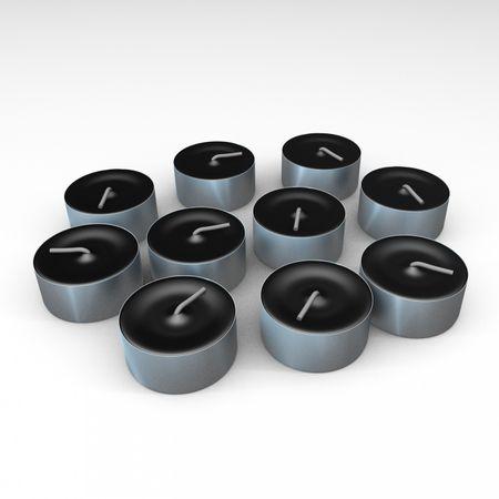 10er Pack schwarze Teelichter