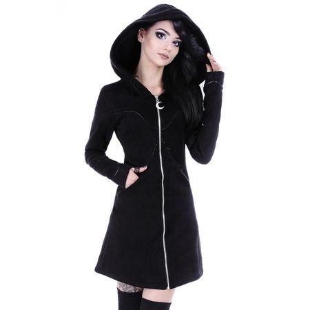 LAYERED HOODIE: Gothic Jacke mit Moon Zipper