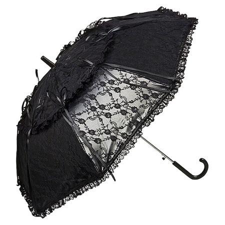 Schwarzer Gothic Regenschirm in Lack-Leder-Optik