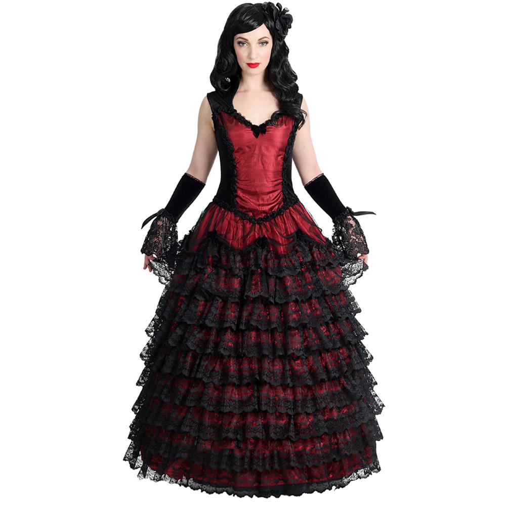 langes, rotes Vampire Prom Gothic Kleid