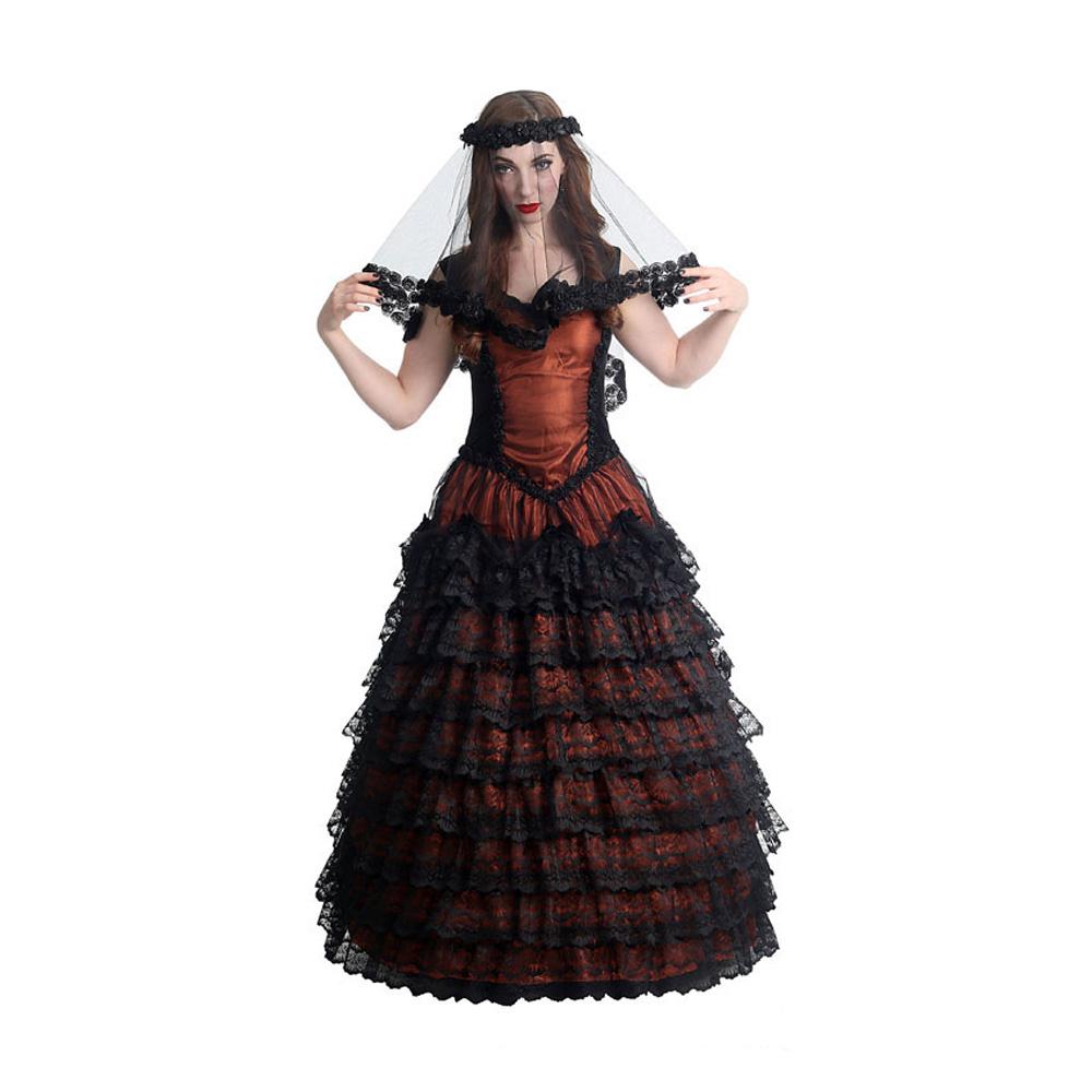 langes, kupferfarbenes Vampire Prom Gothic Kleid