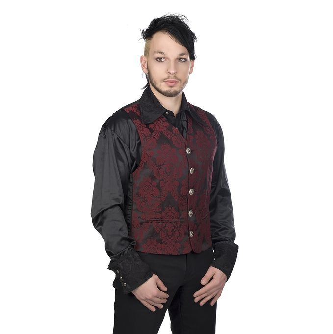 Dark Vest Brocade, bordeaux 001