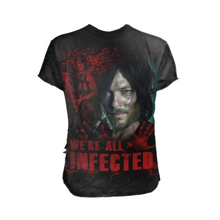 Komm ins Team Daryl! We're All Infected Print Shirt mit einem Motiv aus der Serie The Walking Dead.