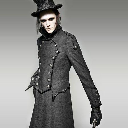 EDWARD COAT: grauer Mantel, grauer Militarymantel mit großen Knöpfen von Punk Rave