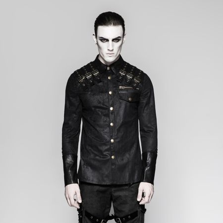 TAURUS SHIRT: Military Shirt in Kunstlederoptik