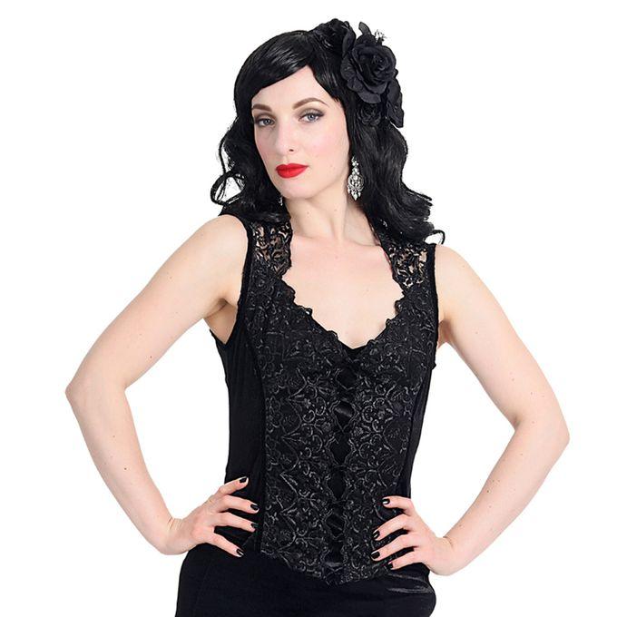 IRINA TOP: ärmelloses Gothic Top mit Spitze