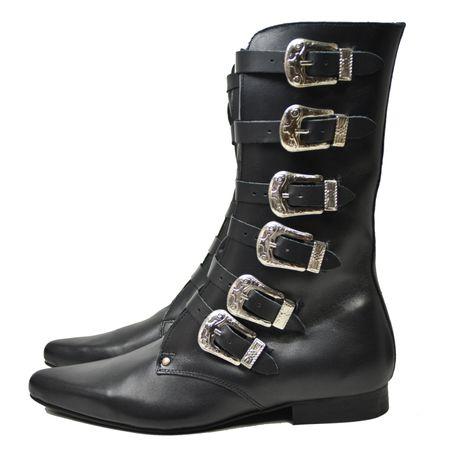 schwarze Winklepicker aus Leder