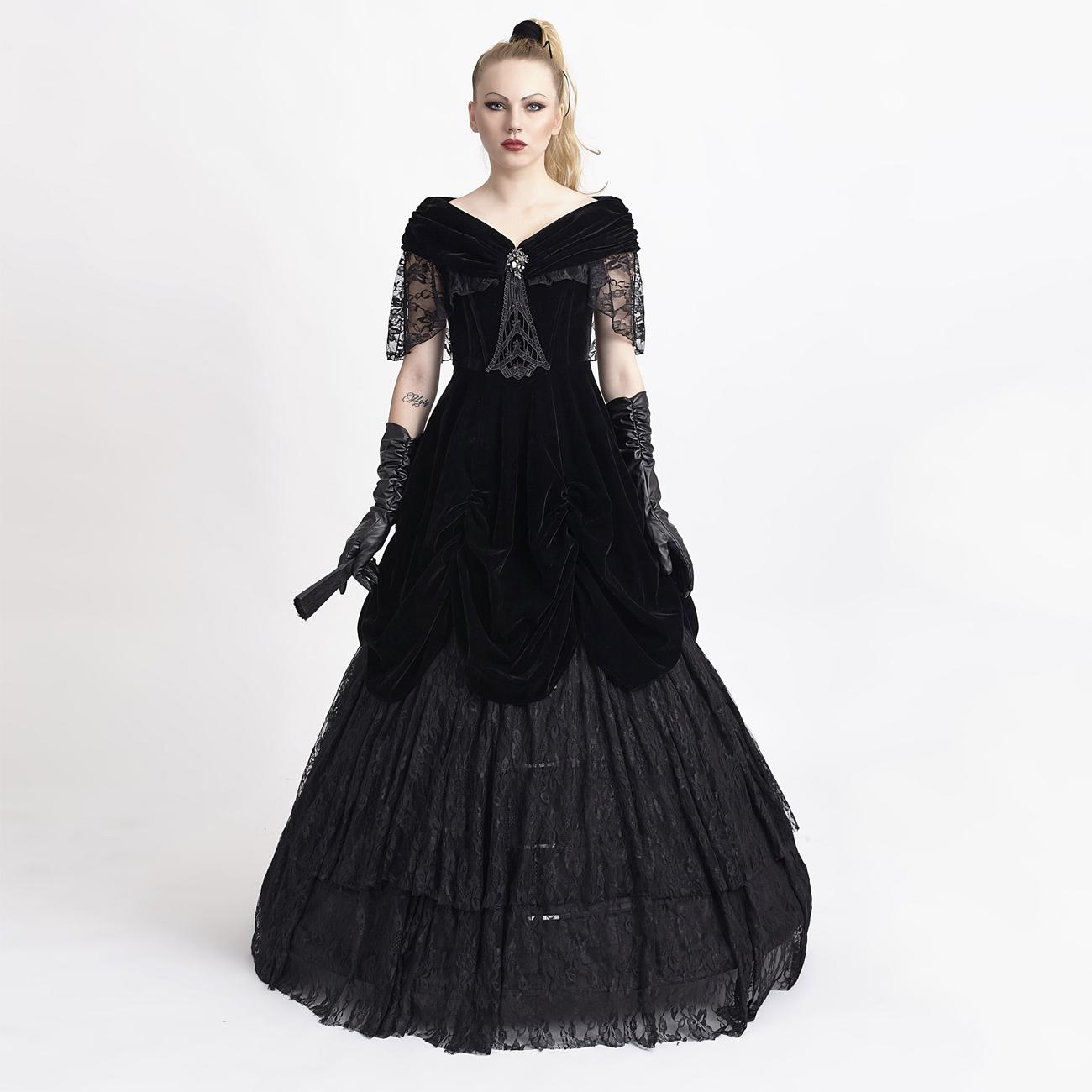 LADY DE LA MORTE: langes viktorianisches Samtkleid