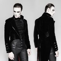 THE PHANTOM JACKET: Samt Gehrock mit Kunstleder