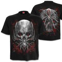 SPIDER SKULL: beidseitig bedrucktes Gothic T-Shirt mit Schädel, Spinne und Spinnweben