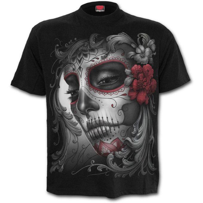 SKULL ROSES: Front Print T-Shirt