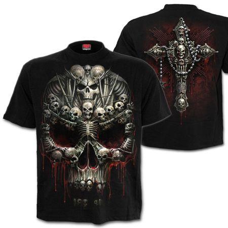 DEATH BONES: beidseitig bedrucktes T-Shirt mit großem Skull und Kruzifix